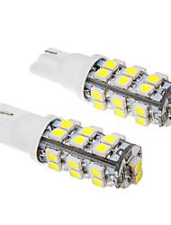2 Pcs T10 2W 26x3528SMD 100-120LM 6000K Cool White Light LED Bulb (12V)