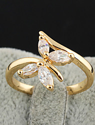 KU NIU Women's Gold Plating Zircon 12Mm Ring J0506