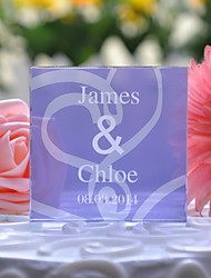 Cake Topper Personalized Crystal Anniversary / Wedding Lilac Floral Theme / Classic Theme Gift Box