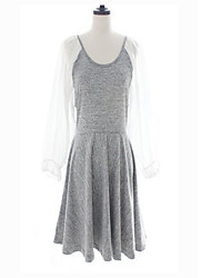Épissure Bubble Sleeve Dress Gray FashionGirl femmes
