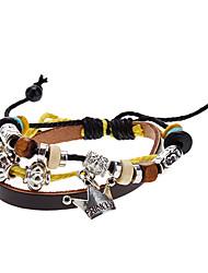 Unisex Crown Fabric Leather Bracelet