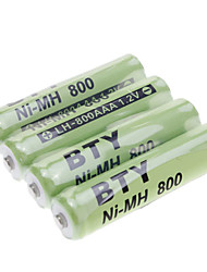 BTY NI-MH 800 AAA 1.2V Rechargeable Batteries Green 4pcs