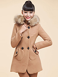 XINDIAN Women's Khaki Medium Hoodie Fur Neck Tweed Coat