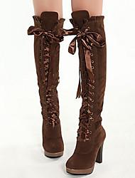 MDQC Frauen Brown Suede Süße Falbala Lace-Up-Plattform über das Knie Stiefel