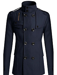 Double Breast Big Yard Navy Blue Coat de Fannuo hommes