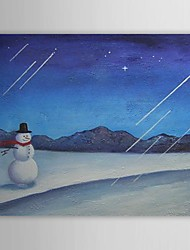 Christmas Holiday Gift Oil Painting Snowman Ready to Hang