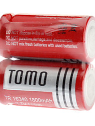 TOMO 1800mAh 16340 Li-ion Rechargeable Battery(Red)