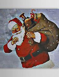 Vacances cadeau de Noël Peinture à l'huile prêt à accrocher le Père Noël et son cadeau prêt à accrocher