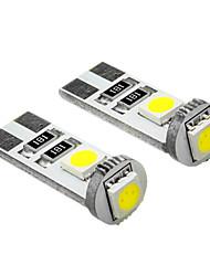 T10 0.4W 3x5050SMD 25-35LM 6000K frío Bombilla LED de luz blanca (12V) 2 PCS