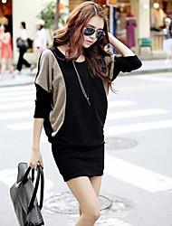Capa de color de las mujeres de contraste de la manga mini vestido