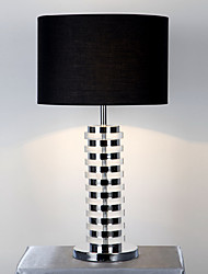 Stylish Modern Table Lamp Folder Body Fabric Black Drum Shade