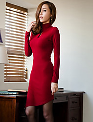 QSYR Women's Fashion High Neck Slim Cut Out Dress(Red)