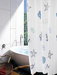 """Shower Curtain Starfish Print W71"""" x L71"""" with Plastic Hooks"""