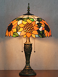 Sunflower Pattern Table Lamp, 2 Light, Tiffany Resin Glass Painting
