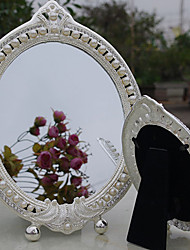 "8""Pearl And Flower Style Metal Tabletop Mirror"