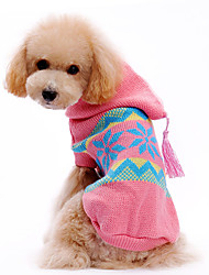 Dog Sweater / Hoodie Pink Dog Clothes Winter Snowflake Christmas