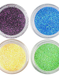 4 Colors Laser Glitter Acrylic Powder Set For 3D Nail Art No.3
