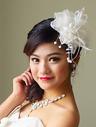 Lace Flowers with Feather/Imitation Pearl Wedding Headpieces