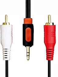 Jeway JCA-7501 banhado a ouro plugue estéreo de 3,5 mm + 2x RCA Plug Cabo de áudio (150 centímetros)