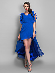 Sheath / Column V-neck Asymmetrical Chiffon Cocktail Party Holiday Dress with Beading Criss Cross Ruffles by TS Couture®