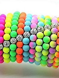8mm Disco Fluorescent Neon Polymer Clay Beads Stretch Bracelets(Random Color Delivery)