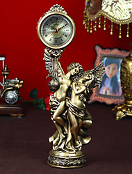 "18""Retro Type Angel Style Polyresin Tabletop Clock"