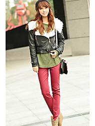 INNA Frauen Red Süßigkeit-Farbe elastische dünne Hosen