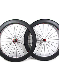 Farsports-700c carretera 60mm Full Carbon Tubular Carretera Ruedas de bicicletas