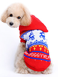 Cat / Dog Sweater / Hoodie Red Dog Clothes Winter / Spring/Fall Reindeer Cute / Christmas