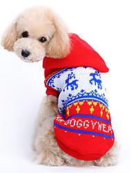 Chat / Chien Pull / Pulls à capuche Rouge Vêtements pour Chien Hiver / Printemps/Automne Renne Mignon / Noël