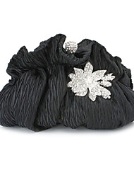 Women Silk Event/Party Evening Bag White Black