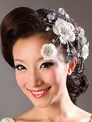 Fabric Flowers with Rhinestone Wedding Headpieces