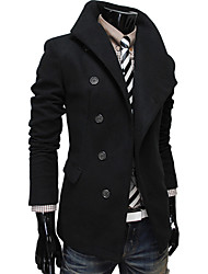 D2P Lapel Single Breasted Solid Color Coat(Black)