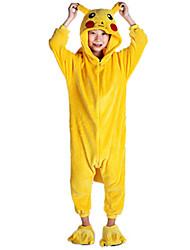 Kigurumi Pijamas Pika Pika Malha Collant/Pijama Macacão Festival/Celebração Pijamas Animal Amarelo Miscelânea Flanela Kigurumi Para