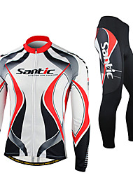 SANTIC-Men Red and White Fleece hosszú ujjú termikus ciklus Suit