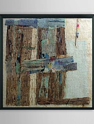 Abstract Wood Board Framed Oil Painting