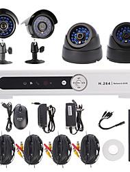 Kit 4 canaux canaux H.264 DVR CCTV Security System (2pcs +2 pcs Dôme / Bullet caméras avec 420TVL CMOS 1/4)