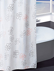 Shower Curtain Polyester Green and Orange Flower Print