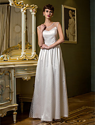 LAN TING BRIDE Sheath / Column Wedding Dress See-Through Floor-length Scoop Tulle with Draped