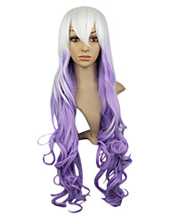 Capless Synthetic White Purple Color Long Curly Party Wig White Pink