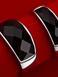z&Vintage schwarze Achat Paar Ringe x® Unisex (2 Stück)