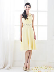 Knee-length Chiffon Bridesmaid Dress - Plus Size / Petite A-line / Princess High Neck