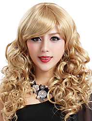 Capless long de haute qualité synthétique Blonde Curls perruque Bang Side