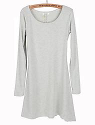 De las nuevas mujeres del vestido de manga larga de pulido de lana blanda básico de una sola pieza del vestido