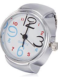 Unisexe cadran blanc en alliage bracelet de quartz analogique