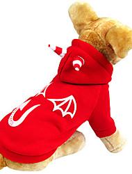 Perros Abrigos / Saco y Capucha Rojo Invierno Angel y Diablo