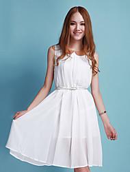 Miss well Solid Collar Splicing Ruffle Hem Chiffon Dress