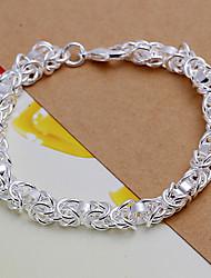 Sweet 20cm Women's Silver Copper Chain & Link Bracelet(Silver)(1 Pc) Jewelry