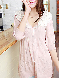 Folli Korean  Crochet Collar 3/4 Sleeve Splicing Knit Shirt