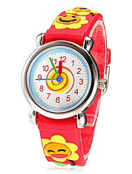 Children's Little Round Dial 3D Sun Flowers Patern Silicone Band Quartz Analog Wrist Watch (Assorted Colors)